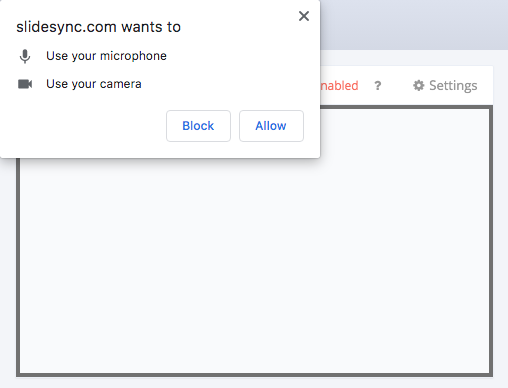 Camera and microphone authorization screenshot on Chrome