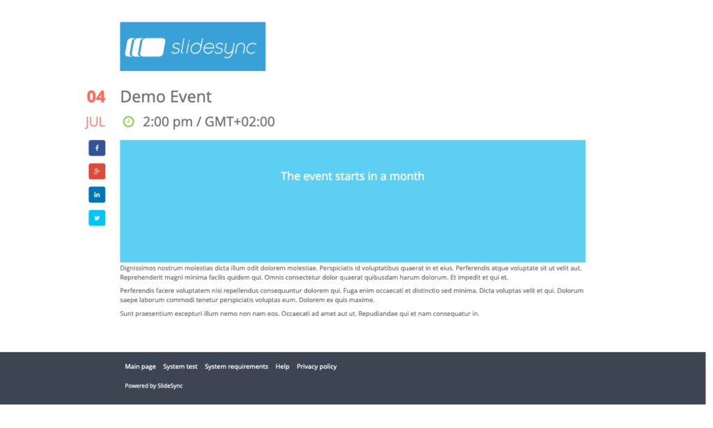 Screenshot of an Event Page