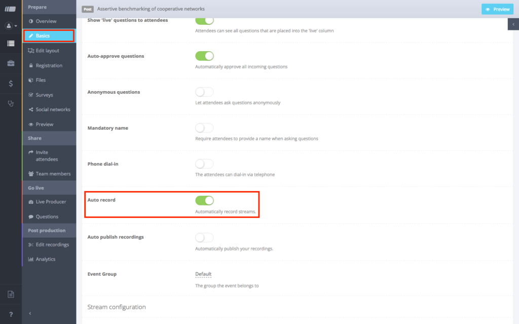 Activate Auto-record in the settings
